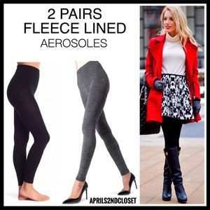 2 PAIRS FLEECE LINED LEGGINGS FOOTLESS TIGHTS A2C